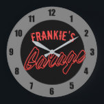 "Customize Your Name Neon Style Hot Rod Car Garage Large Clock<br><div class=""desc"">Customize Your Name Neon Style Hot Rod Car Garage Clock - Personalize with your name! Cool edition to a car enthusiasts home.</div>"
