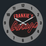 """Customize Your Name Neon Style Hot Rod Car Garage Large Clock<br><div class=""""desc"""">Customize Your Name Neon Style Hot Rod Car Garage Clock - Personalize with your name! Cool edition to a car enthusiasts home.</div>"""