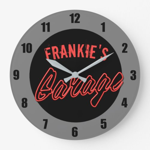 Customize Your Name Neon Style Hot Rod Car Garage Large Clock