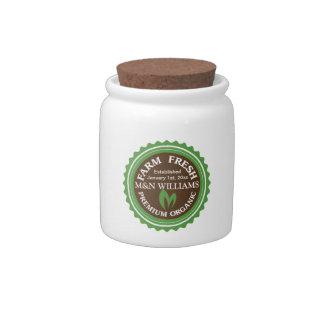 Customize Your Name Organic Farm Logo Candy Jar