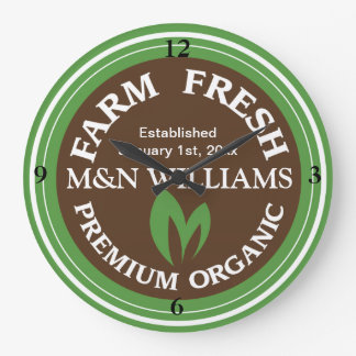 Customize Your Name Organic Farm Logo Large Clock