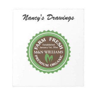 Customize Your Name Organic Farm Logo Note Pad