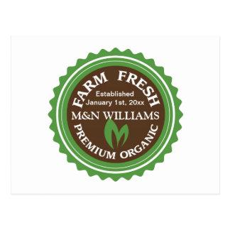 Customize Your Name Organic Farm Logo Postcard
