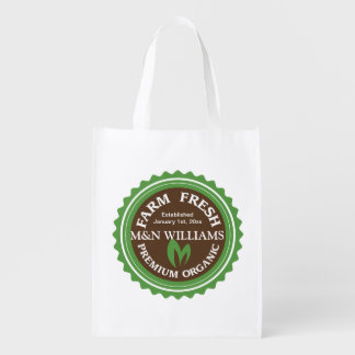 Customize Your Name Organic Farm Logo Reusable Grocery Bags