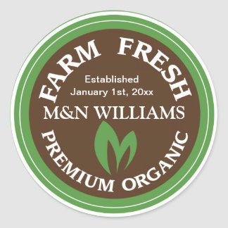 Customize Your Name Organic Farm Logo Classic Round Sticker
