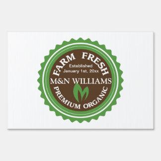 Customize Your Name Organic Farm Logo Yard Sign