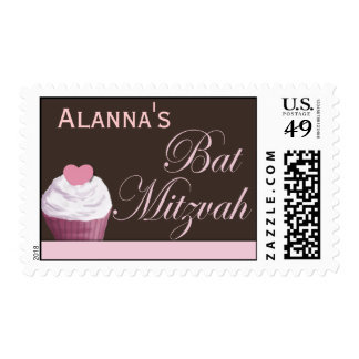 Customize your own Bat Mitzvah cupcake Postage Stamp