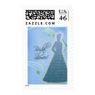 Customize your own blue bridal shower postage stamp