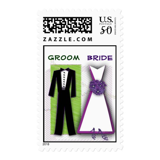 Customize Your Own Bride And Groom Postage Stamp