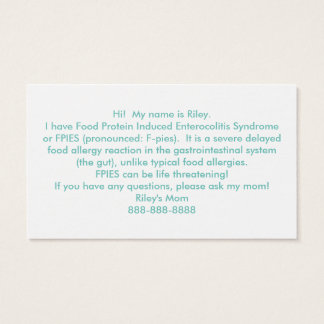 Customize Your Own Food Allergy Hand Out Cards