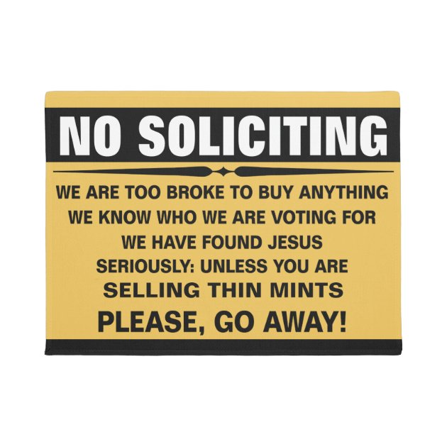 Customize Your Own No Soliciting Sign Doormat Zazzle