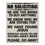 Customize Your Own No Soliciting Sign Poster