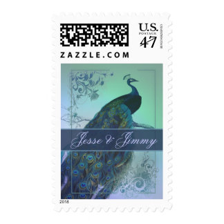 Customize your own peacock romantic wedding stamps