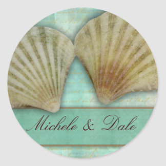 Customize your own seashell design classic round sticker