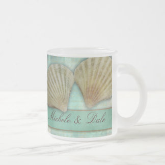 Customize your own seashell design frosted glass coffee mug