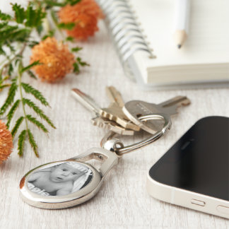 Customize Your Own Unique Personalized Silver-Colored Oval Metal Keychain