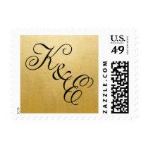 CUSTOMIZE YOUR Script Gold Monogram Postage Stamp