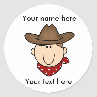 Customize Yourself Brown Cowboy Classic Round Sticker