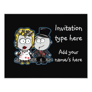 Customize Zombie bride and groom wedding invites