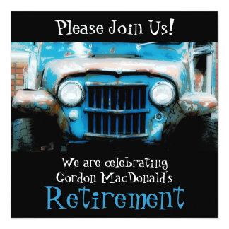 "Customizeable Antique Car Retirement Party Invite 5.25"" Square Invitation Card"