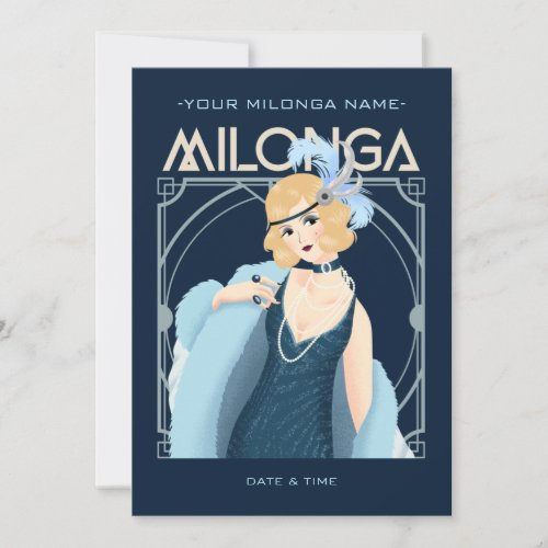 Customizeable Art Deco Tango Milonga Event Invitation
