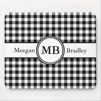 Customizeable Black and White checked Gingham Mousemats