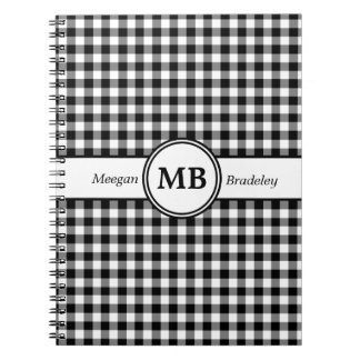 Customizeable Black and White checked Gingham Notebook