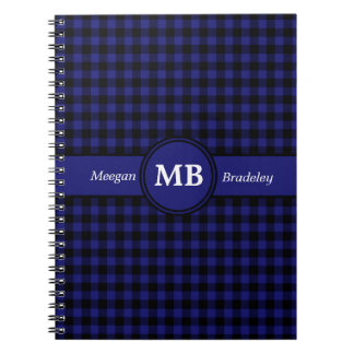 Customizeable Blue and Black checked Gingham Spiral Notebooks