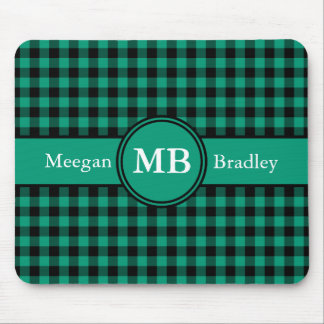 Customizeable Green and Black checked Gingham Mouse Pads