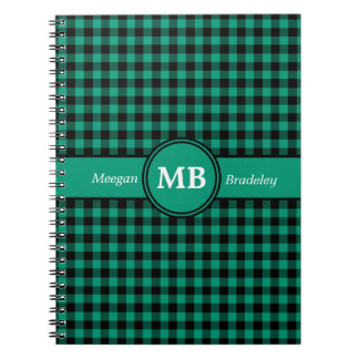 Customizeable Green and Black checked Gingham Note Books