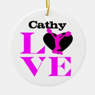 Customizeable love Cheerleader pink ornament