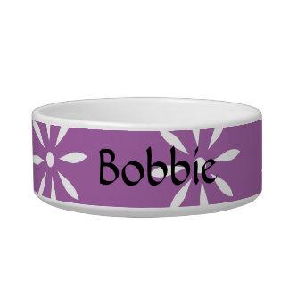 Customizeable Monogram Purple & White Flowers Pet Bowl