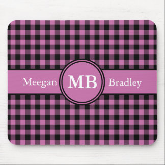 Customizeable Pink and Black checked Gingham Mouse Pad
