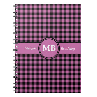 Customizeable Pink and Black checked Gingham Notebooks