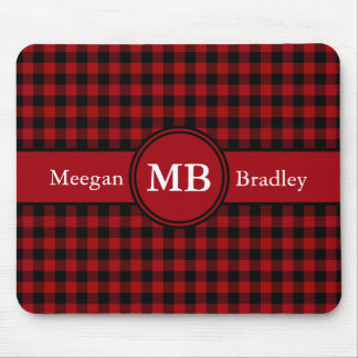 Customizeable Red and Black checked Gingham Mouse Pad