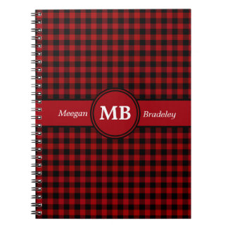 Customizeable Red and Black checked Gingham Notebook