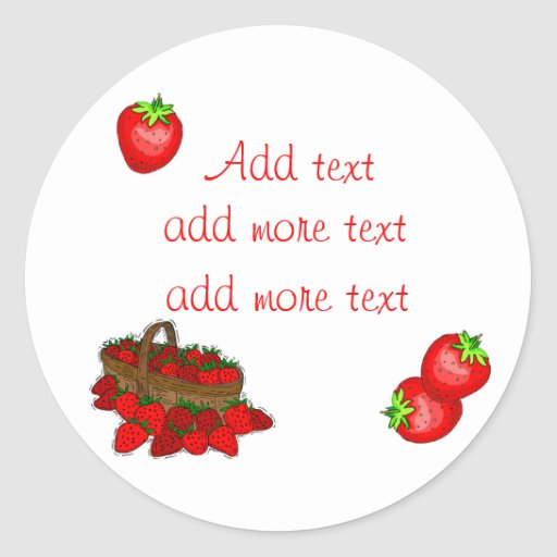 Customizeable Strawberry Canning Labels Classic Round Sticker