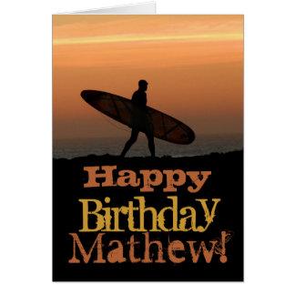 Customizeable Surfer Birthday Card