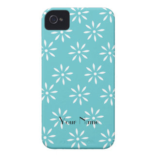 Customizeable Teal & White Flower Blackberry Case