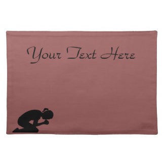 Customizeable Woman kneeling in prayer. Placemat
