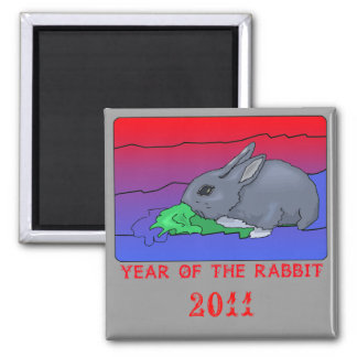 Customizeable Year of the Rabbit Design 2 Inch Square Magnet
