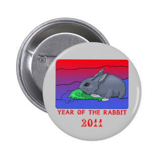 Customizeable Year of the Rabbit Design Pinback Button