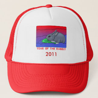 Customizeable Year of the Rabbit Design Trucker Hat