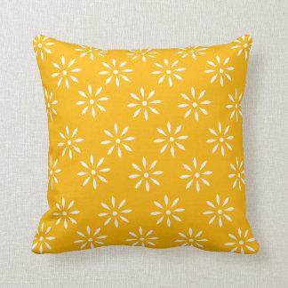 Customizeable Yellow & White Flower Throw Pillow