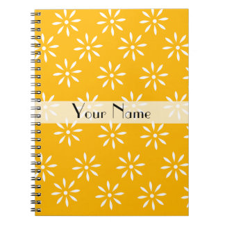 Customizeable Yellow White Flowers Notebook