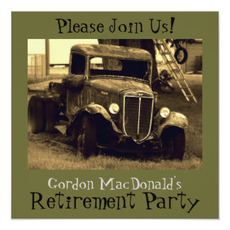 CustomizeableAntique Truck Retirement Party Invite