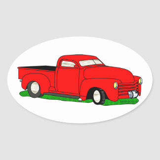 Customized 1950 Chevy Pickup Oval Sticker