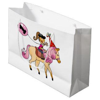 Customized 1st happy birthday girl pony party large gift bag