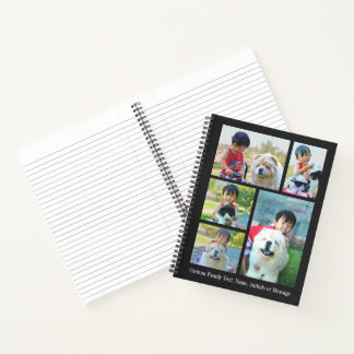 Customized 5 Photo Collage Modern Picture Image Notebook