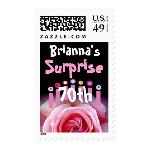 Customized 70th Birthday with Pink Rose & Candles Postage Stamps